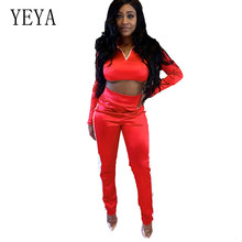 YEYA Sexy Women Sports Jumpsuits Gym Running Fitness Athletic Long Sleeve Two Pieces Sets Casual Rompers Female Red Tracksuits