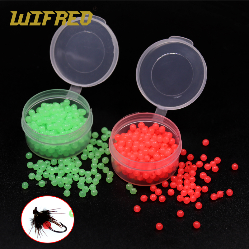 Wifreo 200pcs Soft Mini Fly Tying Glow Beads Fly Tying Material Wet Fly Saltwater Fishing Sabiki Fly Luminous Hot Beads Egg Roe