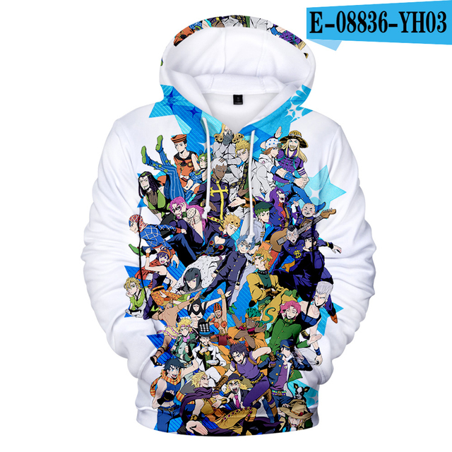 Harajuku Lovely 3D Print Jojo's Bizarre Adventure Hoodie Sweatshirts Teenage Pullover Long Sleeve Men/Women Hooded Autumn Coat 1