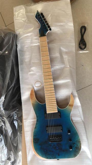 Hurtownie gitary New Arrival 7 struny gitara elektryczna jeden kawałek szyi w kolorze niebieskim 181026 tanie tanio Maple MAHOGANY Strona główna-schooling Profesjonalna wydajność Beginner Unisex Brazylia drewna Pasywny zamknięte typu
