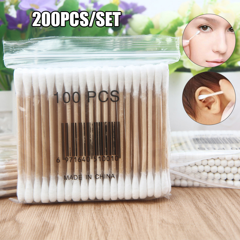 Newly 200Pcs Wooden Cotton Swabs Biodegradable Double Tipped Wood Cotton Buds For Makeup FIF66