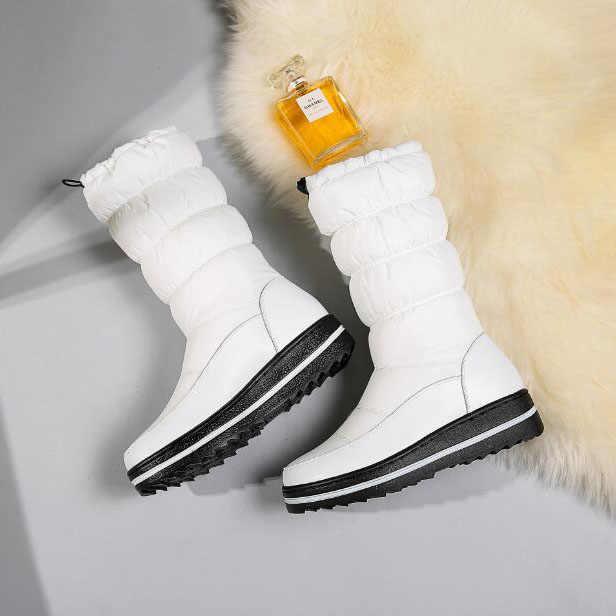 Kış kadın ayakkabısı kaymaz sıcak çizmeler beyaz pamuklu ayakkabılar artı çizmeler kalın alt çörek kar botları bayan botları HX-85