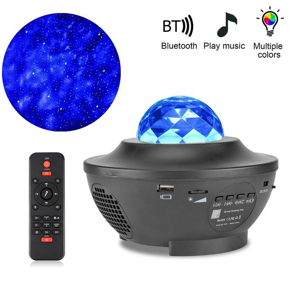 Ocean Wave Starry Sky Projector Night Light Music Player Remote Control Home Party Decoration Night Sky Projection Lamp