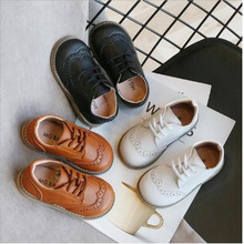 Children's Brogue Leather Shoes Lace Up Boys Girls Formal Oxford Casual Shoes Non-slip Soft Kids Baby Uniform Dress Shoes