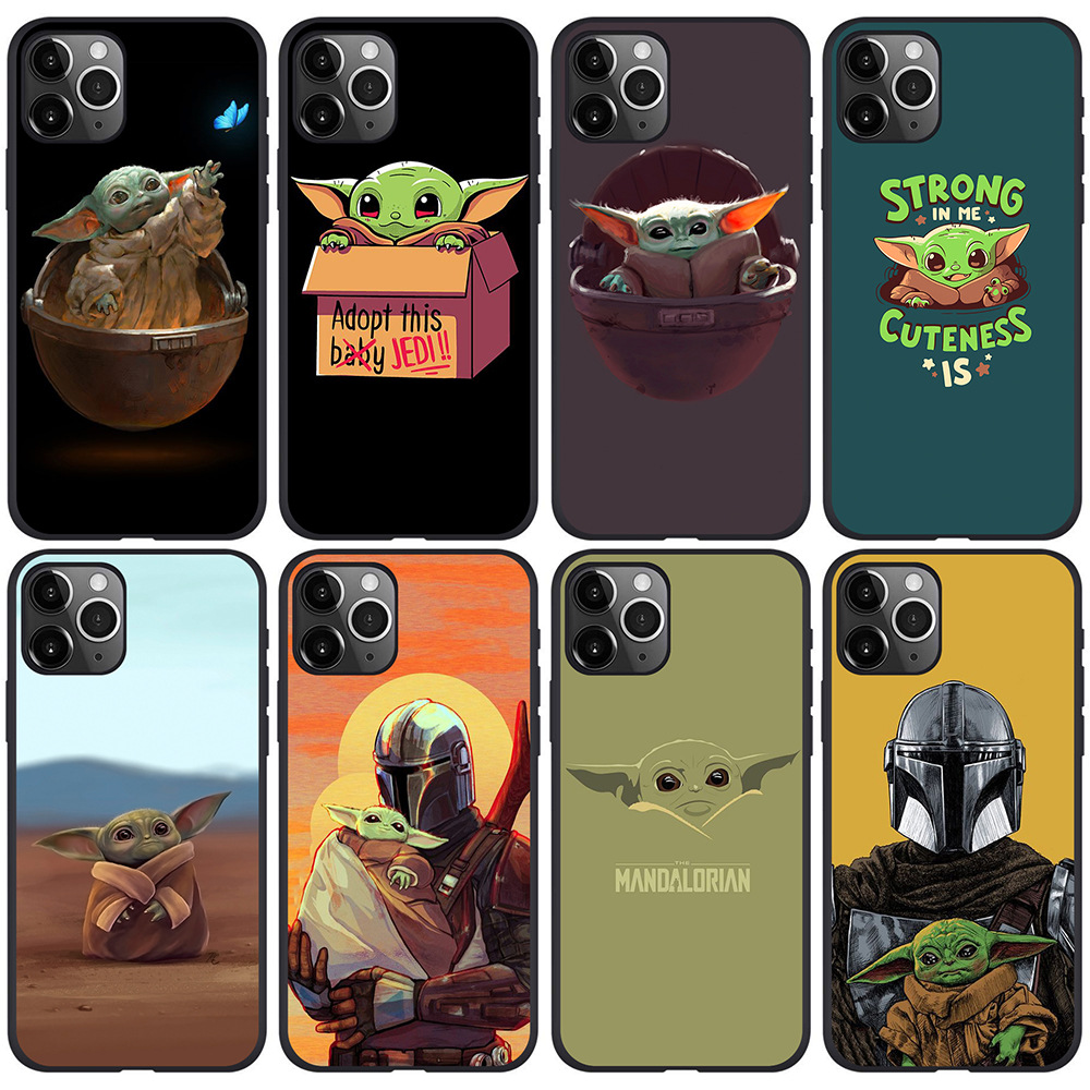 DUSH Baby Yoda iPhone Case Cartoon Cute baby yoda meme Mandalorian Silicone for IPhone 11 Pro Xs Max X Xr 7 8 6 Plus Back Cover image