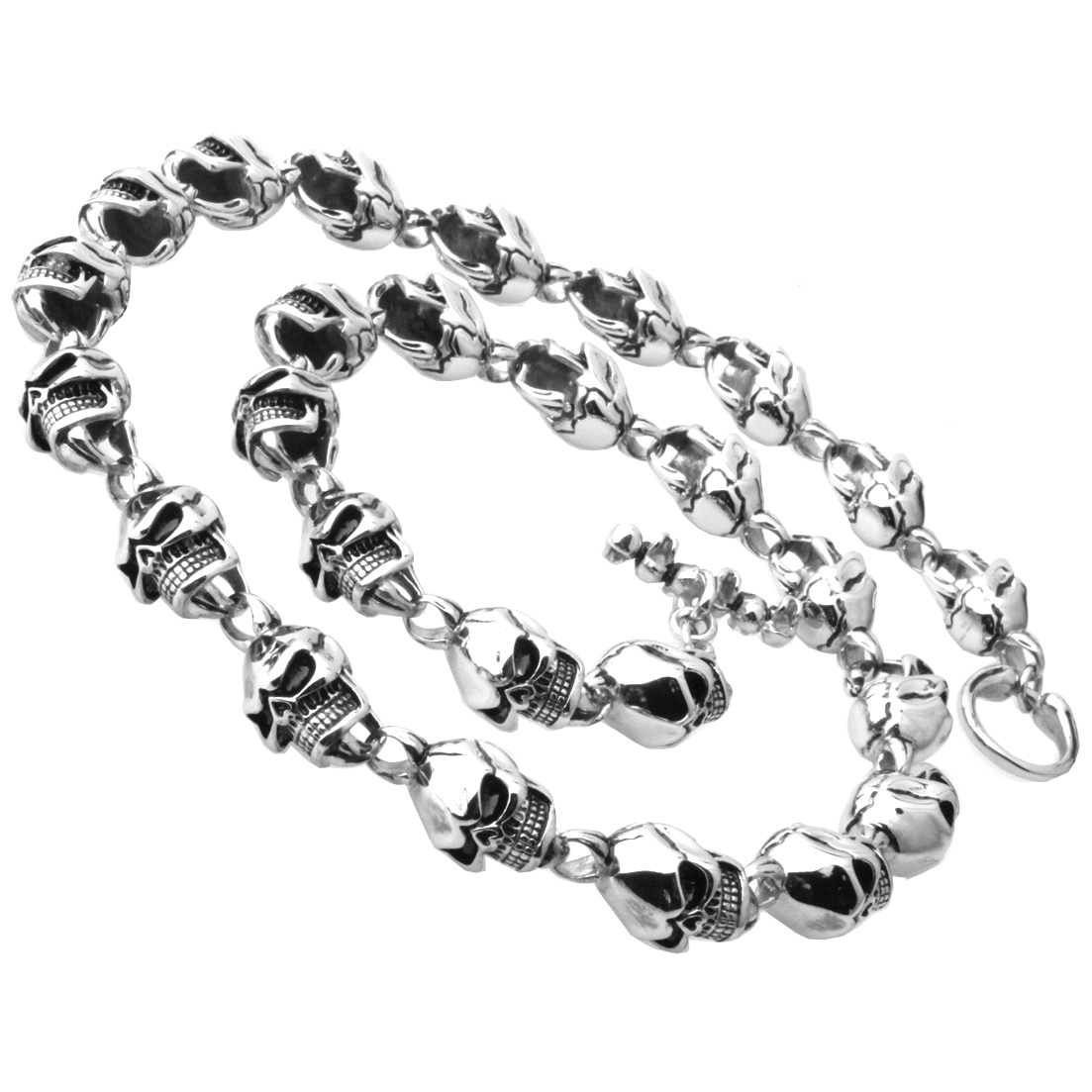 15MM Rock Roll 316L Stainless Steel Silver Black Color Skeleton Skull Link Chain Biker Jewelry Men's Necklace 24