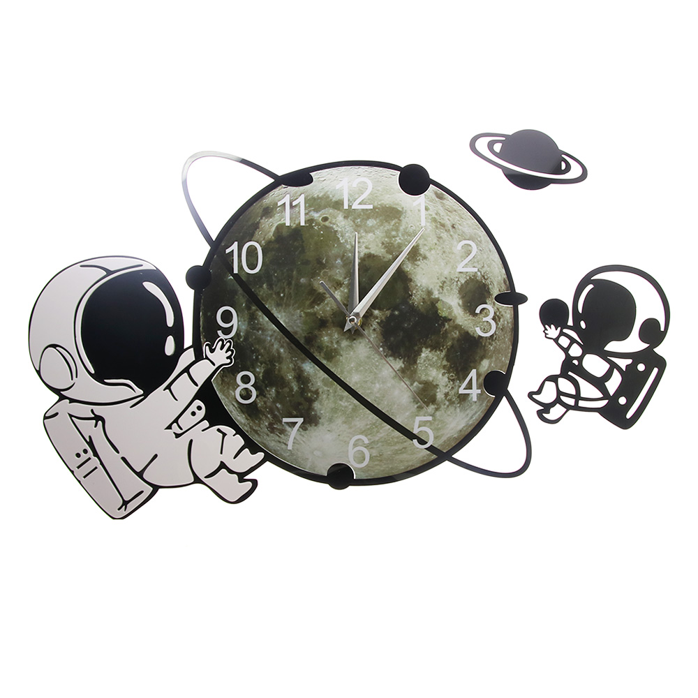 Astronaut On The Moon Cartoon Spaceman Wall Clock Silent Non Ticking Outer Space Wall Art Cosmonaut Kids Room Decorative Clock Just6F