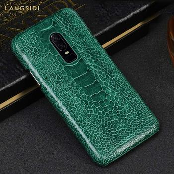 Natural Ostrich Foot Skin Leather phone case For Oneplus 5 5T 6 6T 7 7T Luxury back cover For One plus 6T 7 Pro 7T Pro Armor