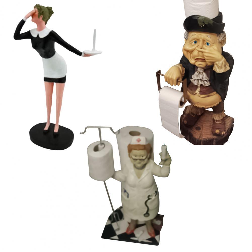 Paper Holder Toilet Paper Holder Wall Mount Tissue Roll Hanger Decorative Funny Cute Old Granny Toilet Butler Statue for Home
