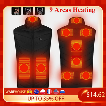 9 Areas Heated Vest Jacket USB Men Winter Electrical Heated Sleevless Jacket Outdoor Fishing Hunting Vest куртка с подогревом
