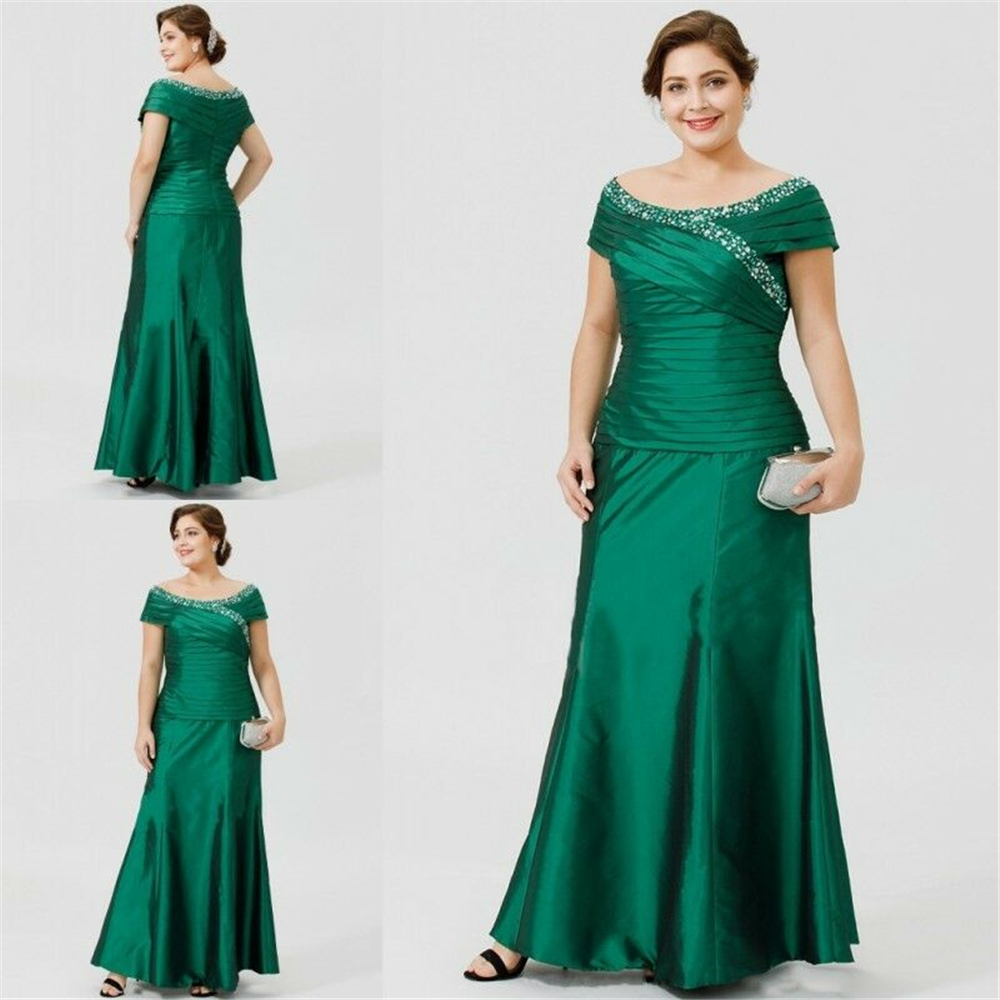 Green Taffeta Women's Dresses Vestidos De Fiesta De Noche Cap Sleeves Scoop Sheath Mother Of The Bride Dresses PLus Size