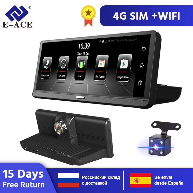 DVRs Carro E-ACE E14 4G Android 8.0 ADAS Polegada Traço Cam 1080P Video Recorder Navegação GPS Dashcam Com câmera de Visão traseira Auto Dvr