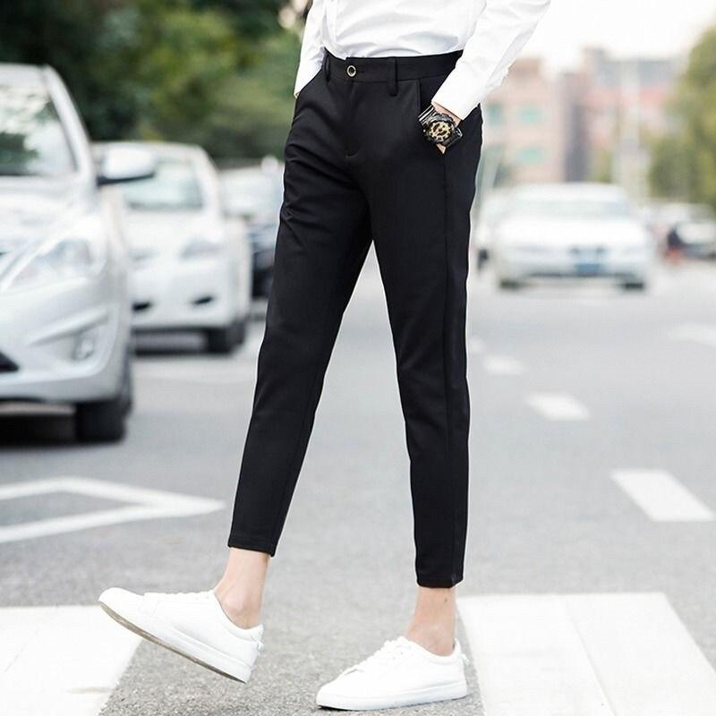 Autumn Cropped Trousers Men's Casual Pants Small Leg Slim Fit Trousers Long Pants Boys' Korean Version Suit Pants