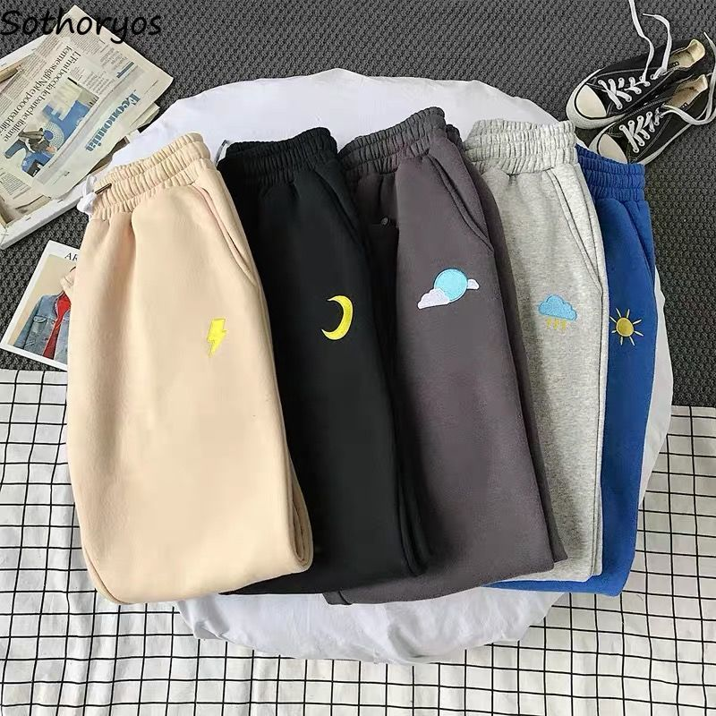 Casual Pants Women Embroidery Thickening Daily Ulzzang Harajuku Womens Drawstrings Korean Style Students Ankle-length Trousers