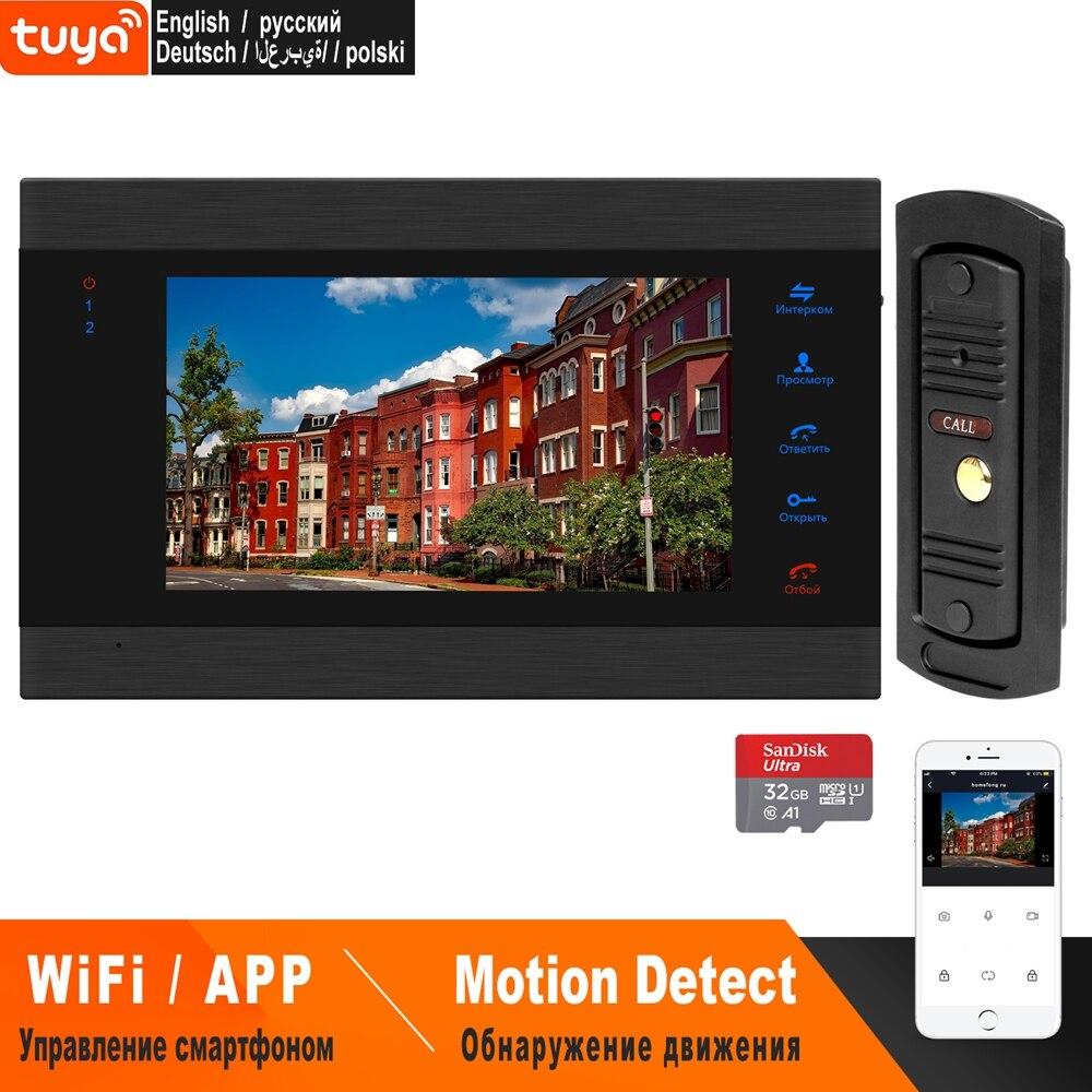 Homefong 7 polegada wi fi vídeo porteiro para casa telefone da porta de vídeo sem fio 1200tvl painel chamada apoio fechaduras elétricas ao ar livre câmeras