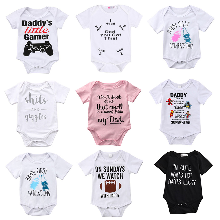 10 Styles Newborn Rompers <font><b>Baby</b></font> Boys Girls <font><b>Clothes</b></font> Toddler Infant Funny Letter Cartoon Jumpsuit Onesie Clothing image