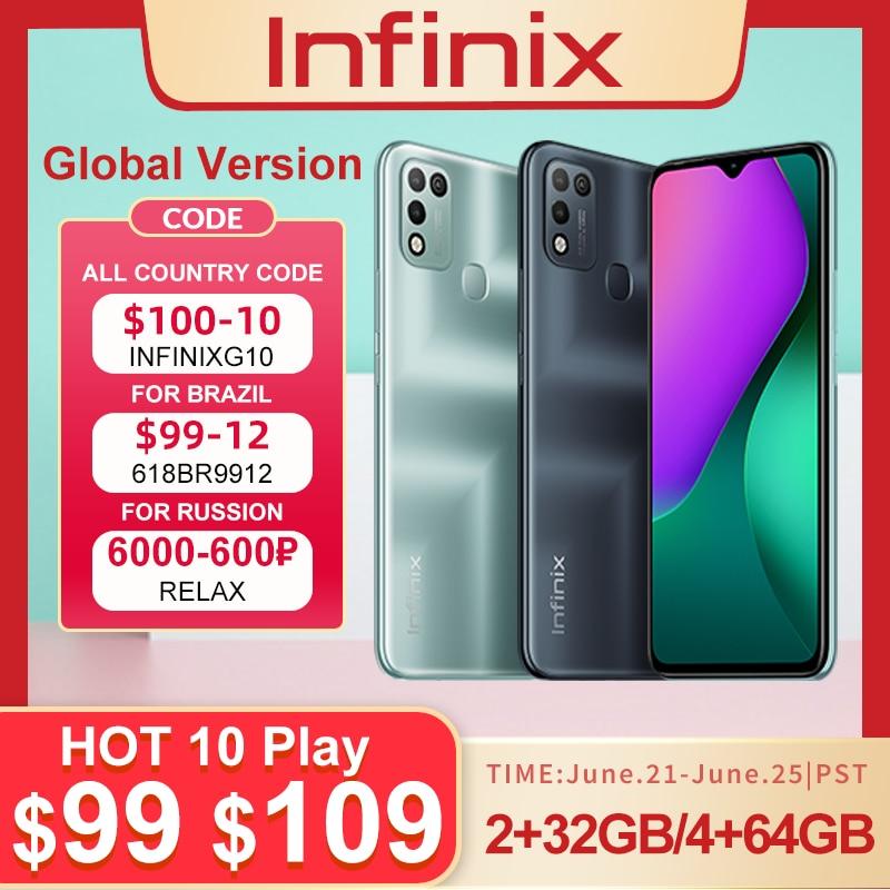 Infinix Горячая 10 PLAY 2 ГБ + 32 ГБ/4 Гб + 64 Гб глобальная версия смартфон 6,82 ''HD + Дисплей 6000 мА/ч, Helio G35 мобильный телефон