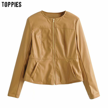 Toppies Women Faux Leather Jacket High Waist Short Jacket Round Neck Zipper Coat Streetwear
