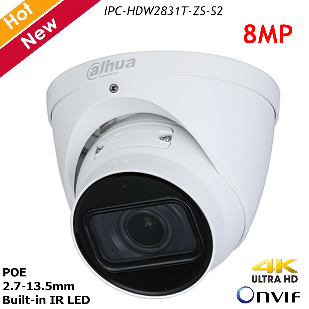 Dahua 4k IP Camera IPC-HDW2831T-ZS-S2 8MP 2.7-13.5mm Zoom Lens H.265 IP67 Support POE And SD Card Survillance Home Security Cam