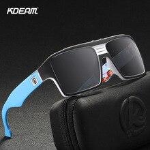 KDEAM Youthful Spirit Polarized Sunglasses Men Keyhole Bridge 6-base Coated Sun Glasses Square Twin-logo Design KD365