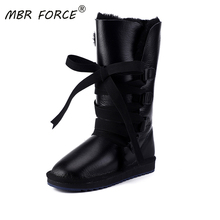 Winter Shoes Snow-Boots Sheepskin Leather Waterproof Women New-Fashion Fur Lace-Up MBR