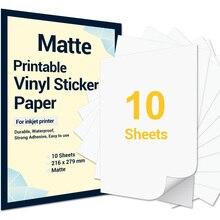 10 Sheets Printable Vinyl Sticker Paper Letter Size Matte Self-Adhesive Printer Copy Paper for Epson Inkjet Printer DIY Crafts