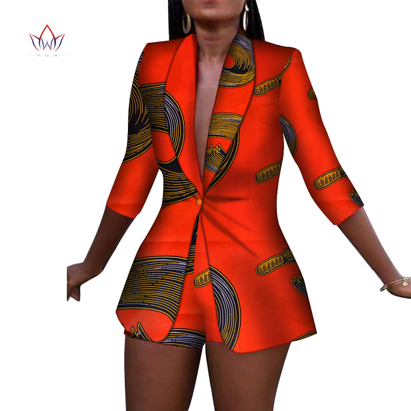 New Women Suit And Short Pants Sets Bazin Riche African Clothes 100% Cotton Print 2 Pieces Sets Women African Clothing WY3492