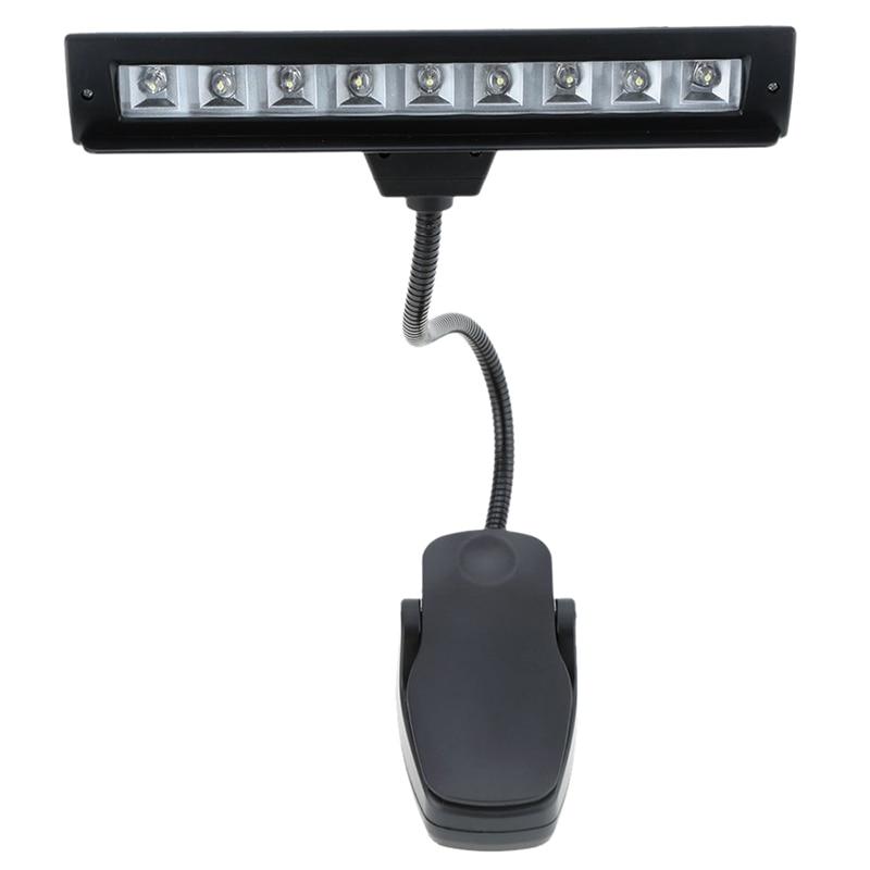 9 LED LED okuma lambası okuma lambası masa takılabilir lamba piyano müzik puanı standı siyah|Sıra Lambaları|Işıklar ve Aydınlatma - title=