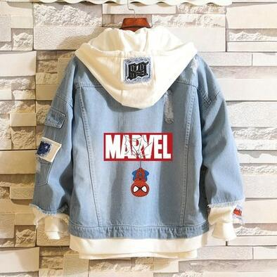 Avengers Endgame Quantum Realm Jeans Jacket Advanced Tech Coat Cosplay Costumes superhero Spiderman Casual Denim Hoodies