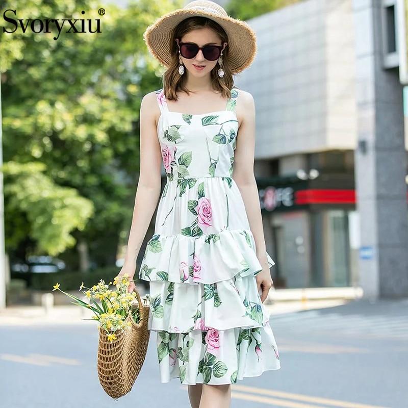 Svoryxiu Gorgeous Runway Summer Party Spaghetti Strap Dress Women's Elegant Rose Flower Print Cascading Ruffle Dresses Vestdios