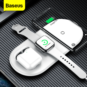 Baseus 3 in 1 Qi Wireless Charger for Apple Watch 5 4 3 2 Airpods 3in1 18W Fast Wireless Charging Pad For iPhone 11 Pro Max Xs X 15w fast charge 2 in 1 wireless charger for iphone 11 pro xs max xr x qi fast wireless charging pad for airpods pro 1 2 charger