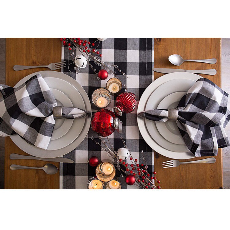 MTL  Buffalo Plaid Burlap Table Runners Modern Christmas Table Runner Napkin Table Runners For Wedding Christmas Decorations