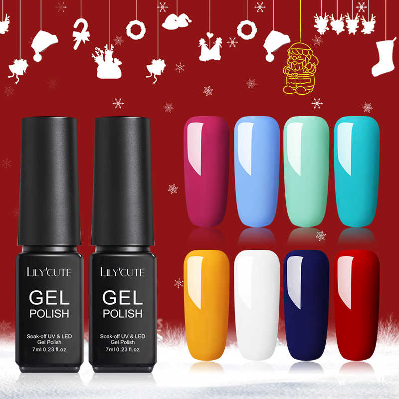Lilycute 7 Ml Kerst Kleur Gel Nagellak Semi Permanente Losweken Uv Gel Nagellak Base Top Coat Uv gel Nagellak