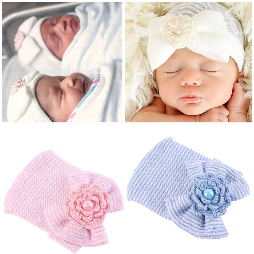 Girls Hats Caps Knitted Warm Autumn Newborn Winter Cute Bow Solid