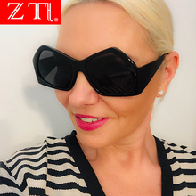 ZT Oversize Womens Sunglasses Double Colors Fashion Gradient Shades Europe and America Irregular Glasses