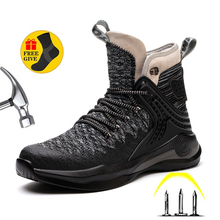 2021 Men's and Women's Fashion Lightweight Steel Toe Safety Boots Anti-puncture And Anti-smashing Work Shoes
