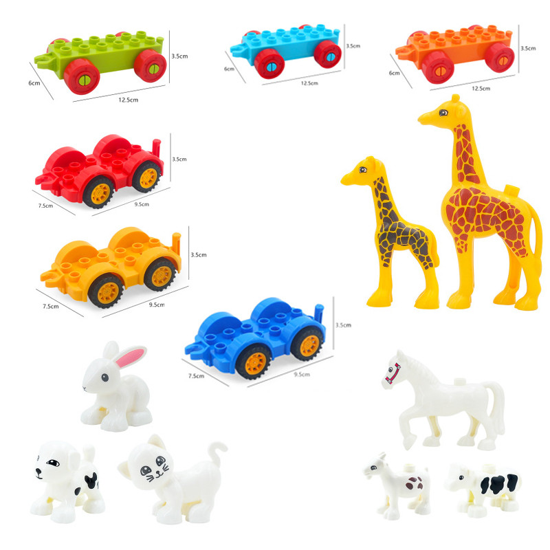 DIY Zoo Dog Cat Cow Model Vehicle Set Transport Bricks Big Particles Building Blocks Accessory Compatible Brand Duploingly Gift