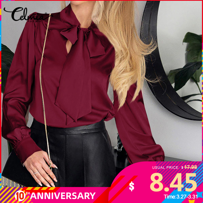 Celmia Women Satin Blouse Fashion Shirts Long Sleeve Bow Tie Casual Office Tunic Top Plus Size Elegant OL Slik Blusas Feminina 7
