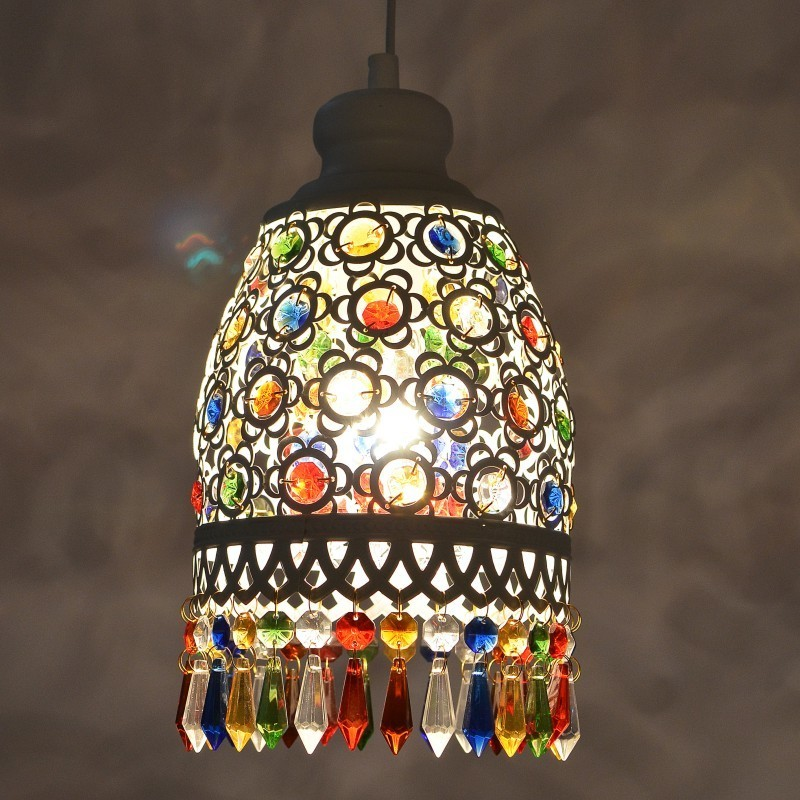 Bohemia Mediterranean Retro Multicolor Bronze Wrought Iron Pendant Lamp Restaurant Bedroom Lamp Hanging Lamp