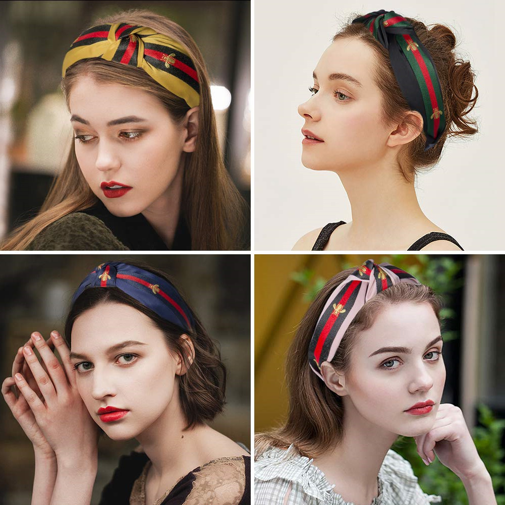 Hair Accessories For Women Cute Knot Headbands For Women - Hair Hoops Wide Stripe Headband With Bee Animal Cross Knot Hair Band