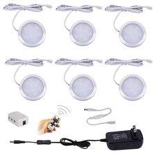 Diodo emissor de luz sob a iluminação do armário 3/4/6/8/10 pces pode ser escurecido puck luzes com controle remoto do rf para a luz do armário da contagem da cozinha