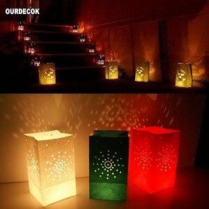 Image 3 - 50 Pcs 25cm לבן נייר הפנסים נרות תיק עבור LED אור מפיון לב רומנטי יום הולדת מסיבת חתונת אירוע מנגל קישוט