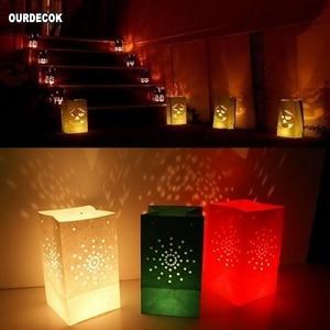 Image 3 - 50 stuks 25cm Wit Papier Lantaarn Kaars Zak Voor LED licht Lampion Hart Voor Romantische Verjaardag Bruiloft Event BBQ Decoratie