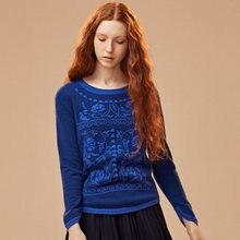 Зима 100% кашемировый вязаный женский свитер с круглым вырезом