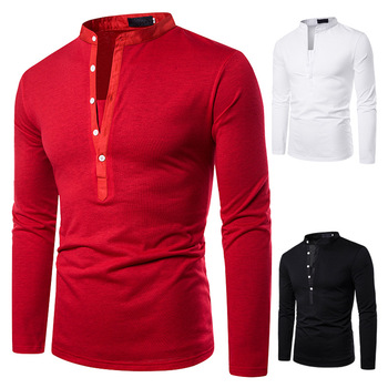 Men's POLO Classic Fashion Pure Dark V Design Cross-border Men's Collar Long Sleeve POLO 2