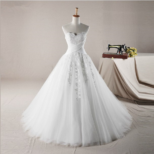 2016 Free Shipping A-Line Sweetheart Tulle Wedding Dress Bridal Gown Lace Appliques Bridal Dress Wedding Gowns SL-8888