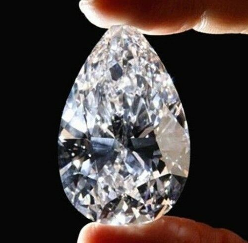 White Sapphire Zircon 51.58Ct 18x25mm Pear Faceted Cut Shape AAAAA VVS Loose Gemstone