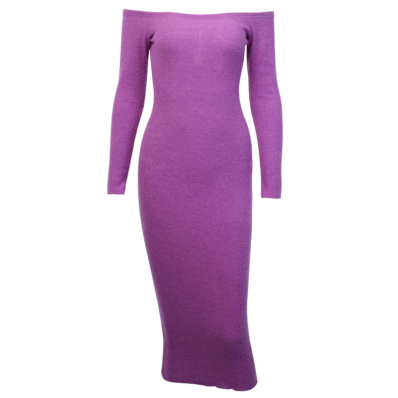 Off Shoulder Ribbed Knitted Long Sleeve Bodycon Midi Dress 13