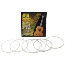 Alta qualidade prata guitarra cordas 6 peças sc12 clássico conjunto de cordas guitarra preto náilon núcleo banhado a prata cobre ferida