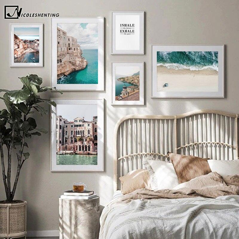 Италия, городское здание, фотография, холст, картина, морской пейзаж, постер, принт, настенное искусство, пейзаж, картина, Современное украше...